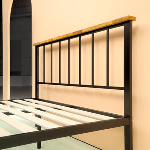 Metal and Wood Contemporary Platform Bed Frame - headboard