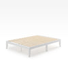 Moiz wood platform bed frame White Quarter Thumbnail