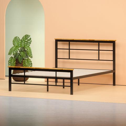 Metal and Wood Urban Platform Bed Frame