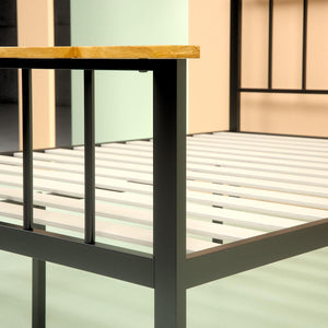 Metal and Wood Contemporary Platform Bed Frame - footboard close up