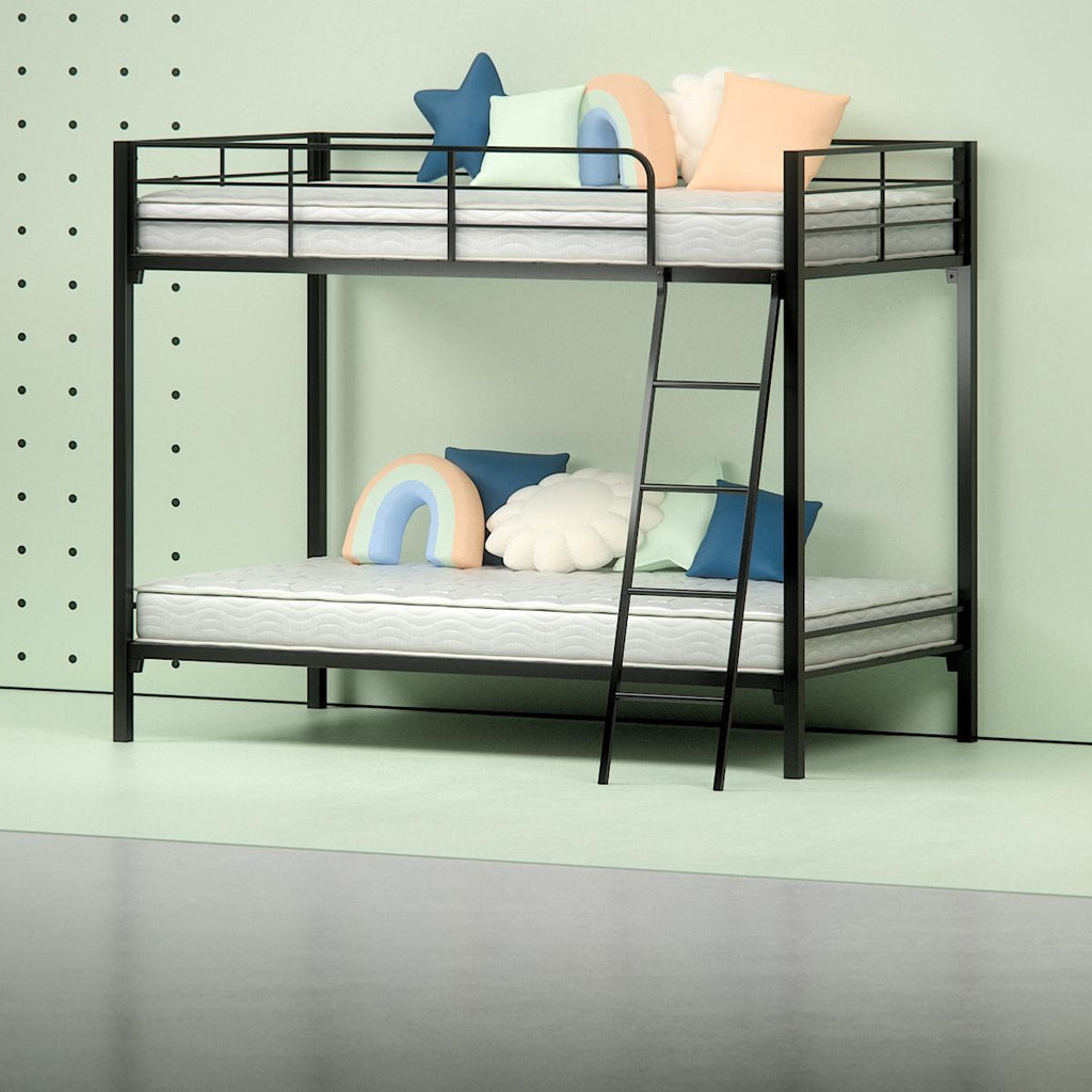 "Steel Quicklock Bunk Bed with 6"" Twin Mattresses - angle shot"
