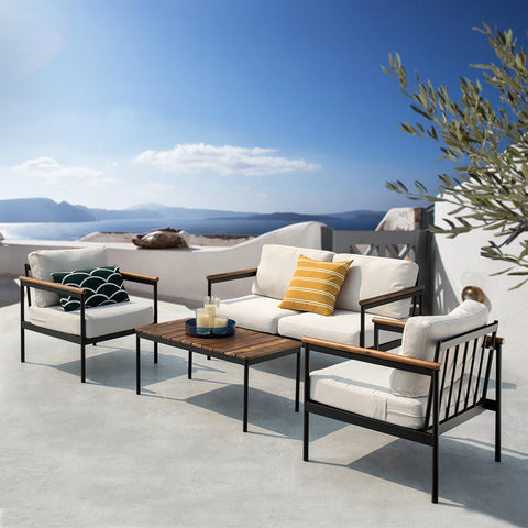 Black Steel with Wood Outdoor Furniture