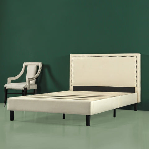 Upholstered Nailhead Platform Bed Frame