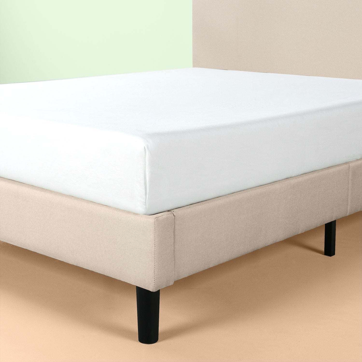 Paris Upholstered Scalloped Platform Bed Frame Zinus