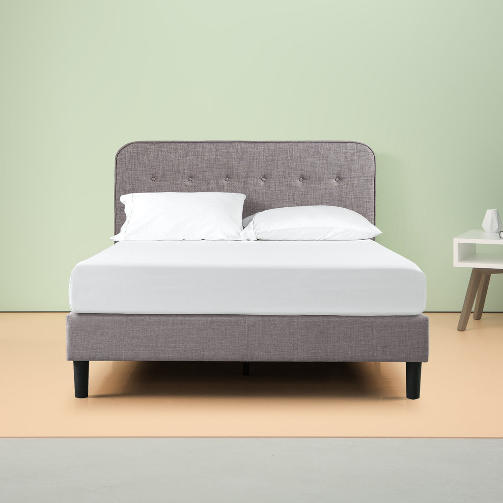 Melodey Upholstered Curved Platform Bed Frame