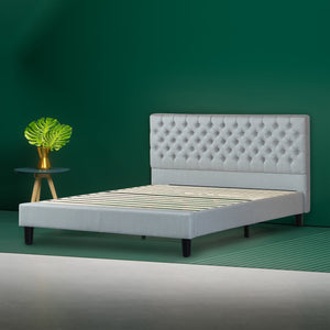 Upholstered Grand Button Tufted Platform Bed Frame