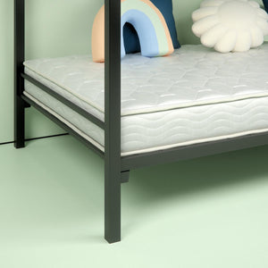 "Steel Quicklock Bunk Bed with 6"" Twin Mattresses - corner close up"