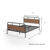 Eli Metal and Wood Platform Bed with Footboard Queen size dims shown Thumbnail