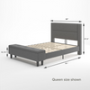 Wanda upholstered Platform Bed with storage queen size dimensions shown Thumbnail