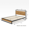 Suzanne Metal and Wood Platform Bed Frame with Headboard Shelf and USB Port Queen Size Dimensions Thumbnail