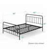 Florence Metal Platform Bed Frame black queen size dimensions Thumbnail