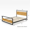 Suzanne Metal and Wood Platform Bed Frame with Footboard Quarter Queen Size Dimensions Thumbnail