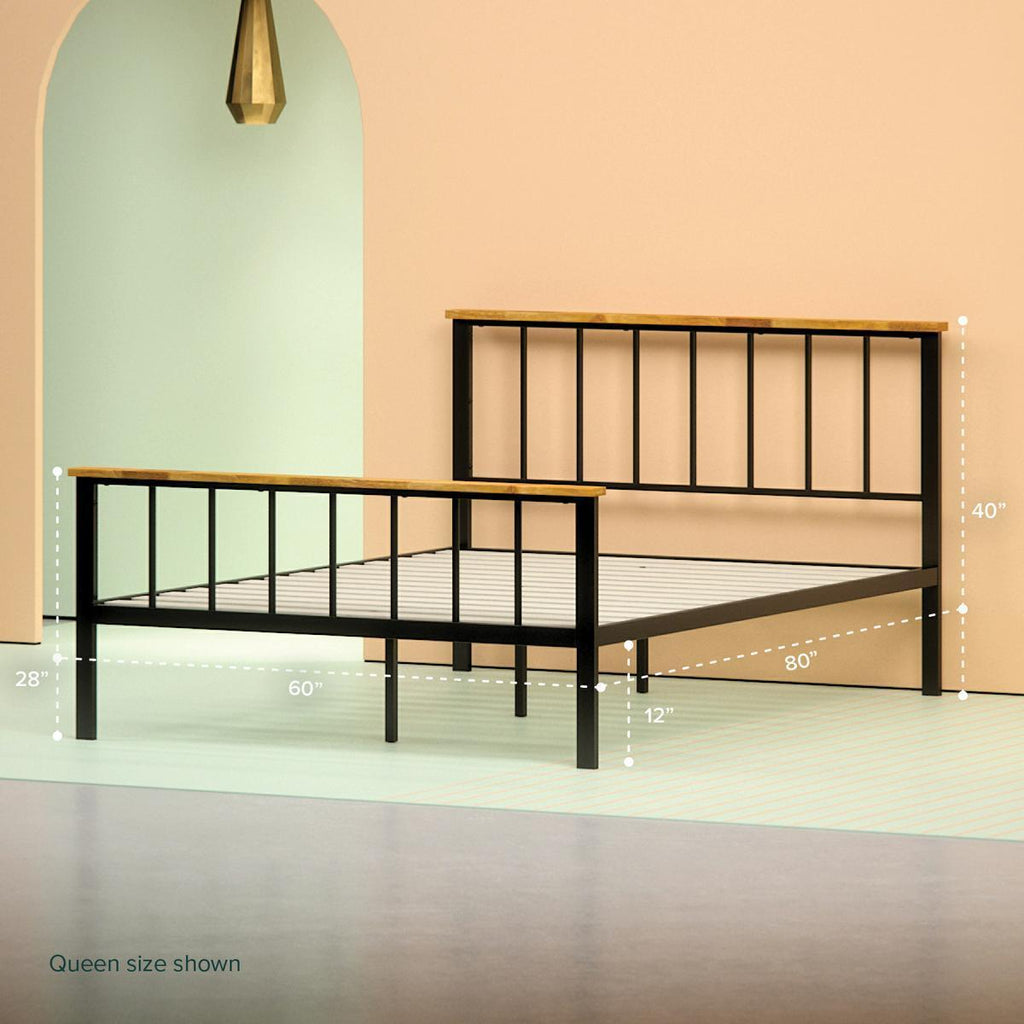 Metal and Wood Contemporary Platform Bed Frame