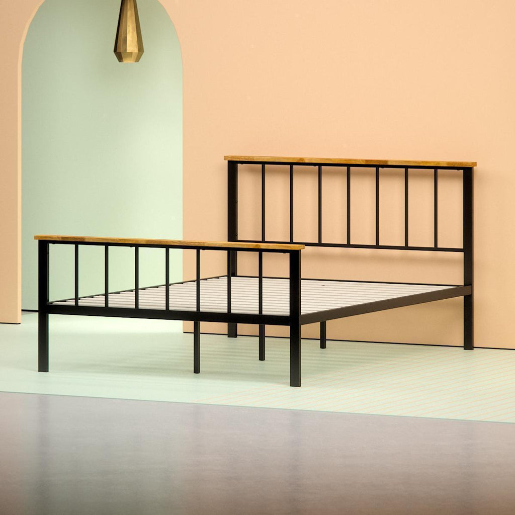 Metal and Wood Contemporary Platform Bed Frame - angle shot