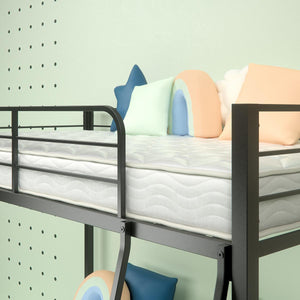 "Steel Quicklock Bunk Bed with 6"" Twin Mattresses - upper bunk close up"