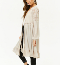 Load image into Gallery viewer, Ruffle & Lace Longline Cardigan