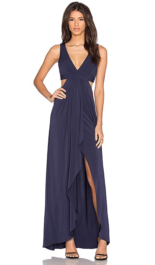 BCBGMaxazria Elinne Cutout Pleated Gown