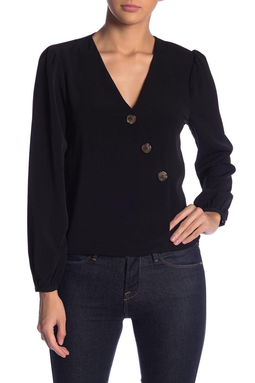 Elodie Asymmetrical Button Blouse (S)