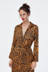 Zara Snake Print Belted Dress