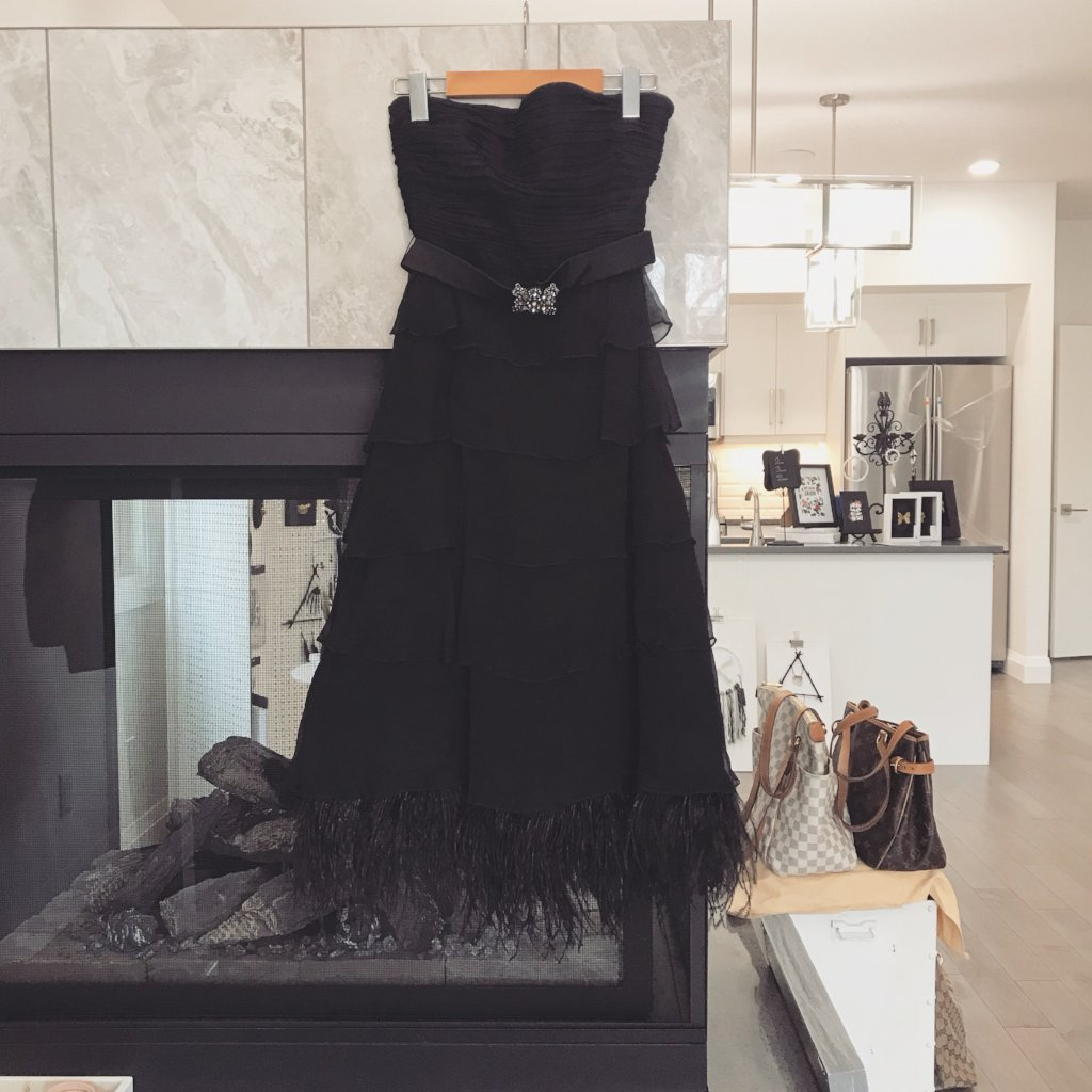 BCBG Belted Feather Gown