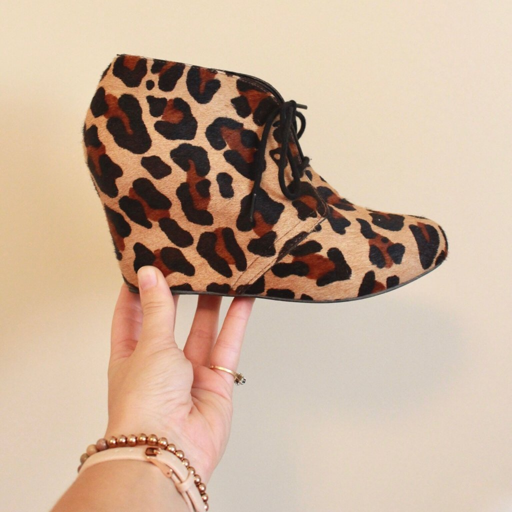Nine West Leopard Print Wedge Bootie