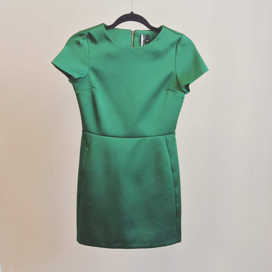 Topshop Satin Emerald Dress