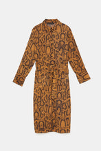 Load image into Gallery viewer, Zara Snake Print Belted Dress