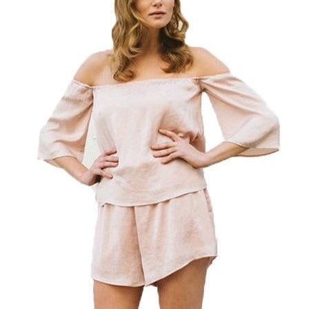 Brunette Off-the-Shoulder Romper