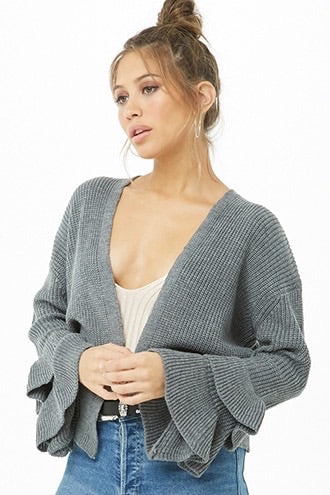 POL Ruffle Sleeve Open Sweater