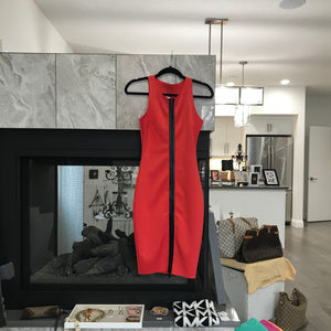 Guess Red Dress With Black Zipper
