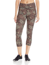 Load image into Gallery viewer, Betsey Johnson Leopard Rosebud Cropped Yoga Pants