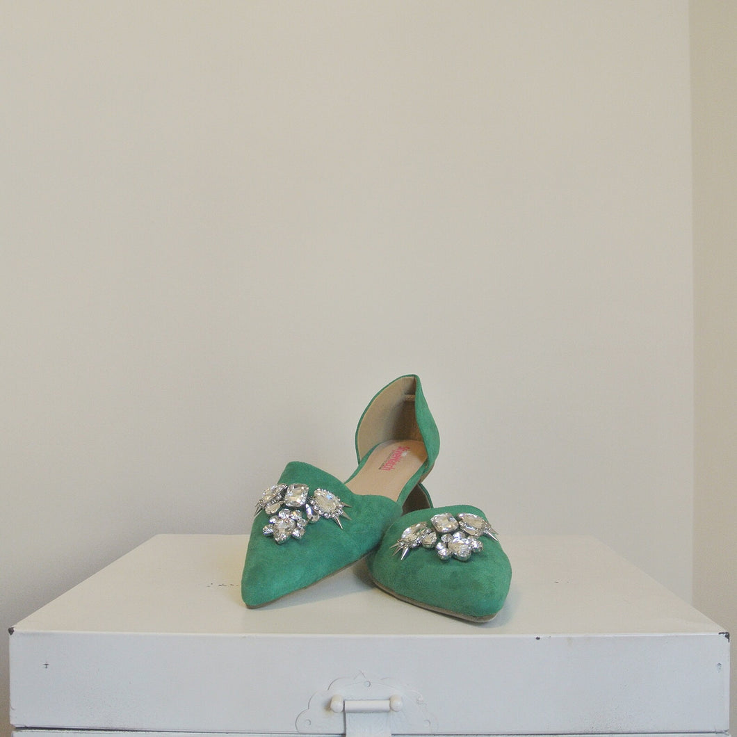JustFab Jewel Green Flats