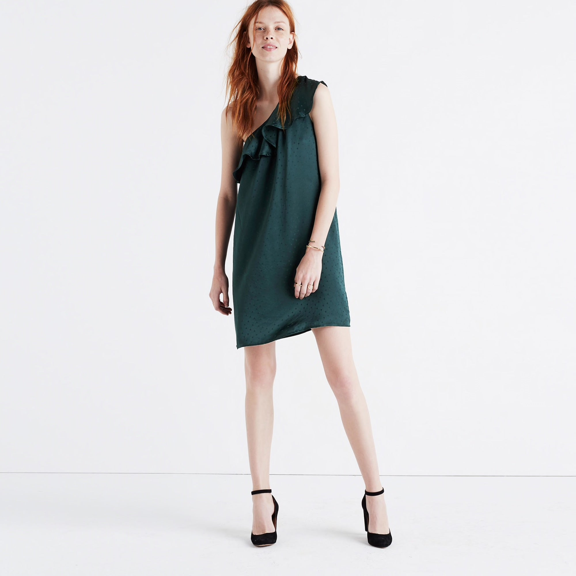 Madewell Silk Dancefloor One Shoulder Dress
