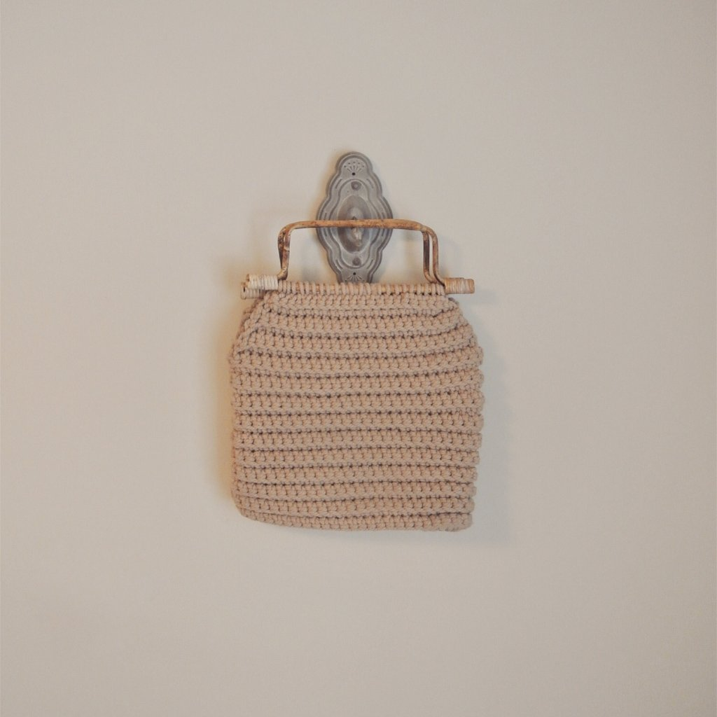 Vintage Woven Handbag with Wooden Handles