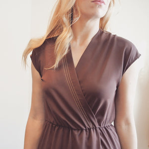 Vintage Mauve Dress with Gold Detail