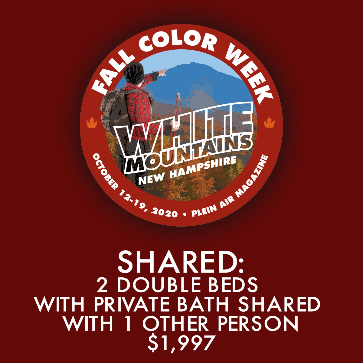 2020 Fall Color Week - Shared: 2 Double Beds with Private Bath Shared with 1 Other Person - FCW19 Discount