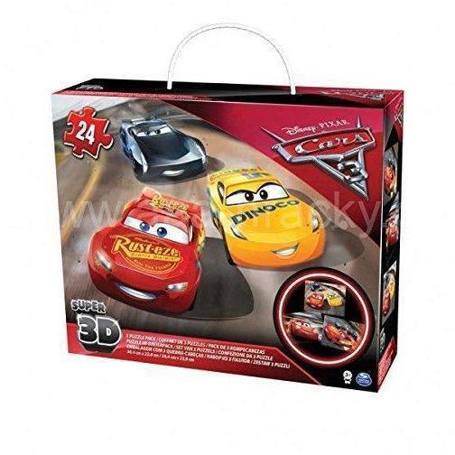 Disney Cars Super 3D - 3 Puzzle Pack 24 Pieces