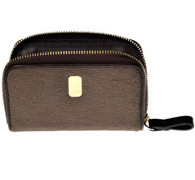 The Piccola Pony Zip Case unzipped in brown color