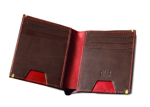 The Men's Vert Wallet inside view with red and brown skin color