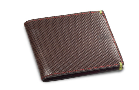 The Güs Men's Horizontal Billfold in vegetable-tanned saddle leather. Lille embossed shown.