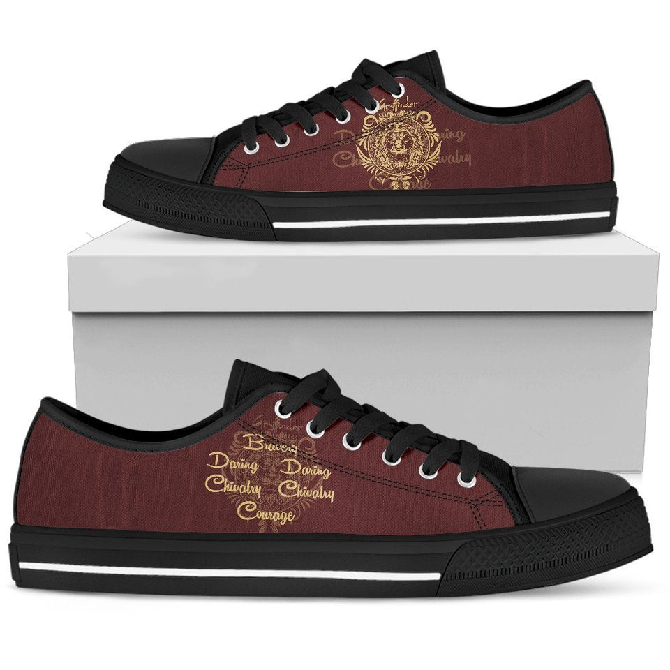 Harry Potter 4 House Men's Low Top Canvas Shoe HP0053 - Gryffindor - Black / US5 (EU38) - Ineffable Shop
