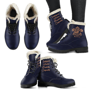 Harry Potter Style Boots - Ravenclaw Faux Fur Women's Leather Boots - - Ineffable Shop