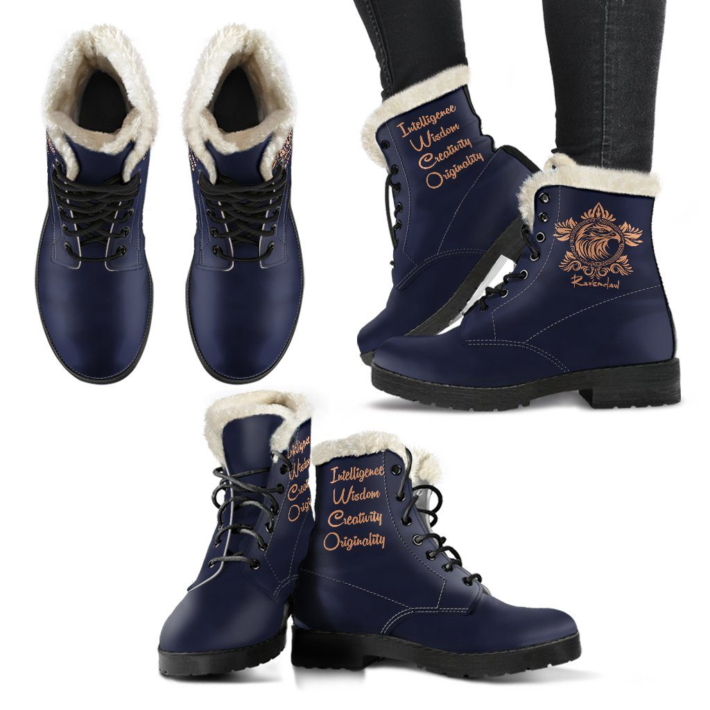 Harry Potter Style Boots - Ravenclaw Faux Fur Women's Leather Boots - Ineffable Shop