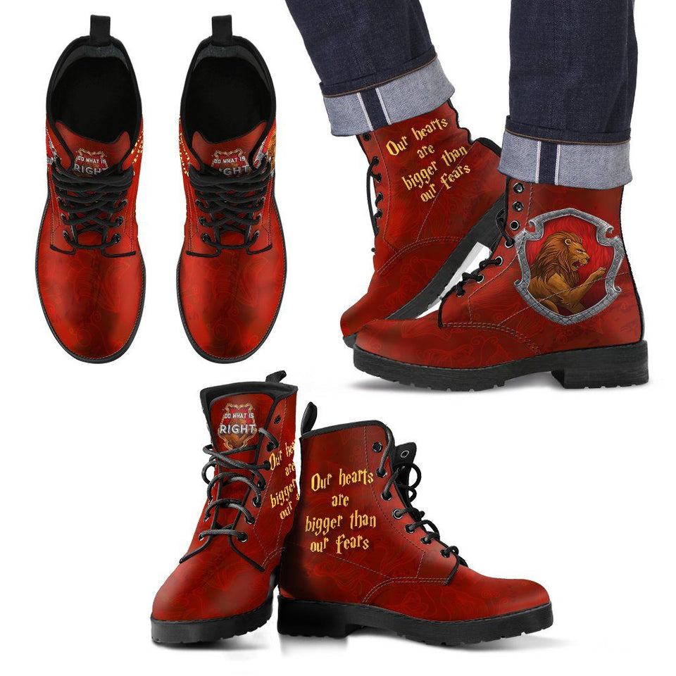 Harry Potter 4 House Men's Leather Boots HP0107 - Gryffindor / US5 (EU38) - Ineffable Shop