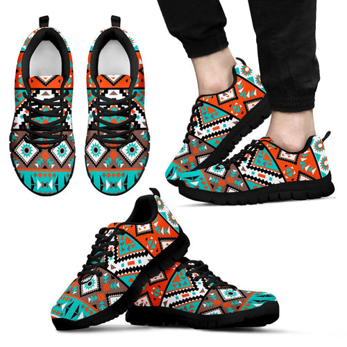 Native American Indian Pattern Men's Shoes NT088 - Men's Sneakers - Black - Native American 1 / US5 (EU38) - Ineffable Shop