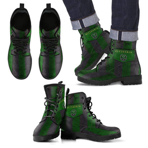 Harry Potter 4 House Men's Leather Boots Design HP0116 - Slytherin / US5 (EU38) - Ineffable Shop
