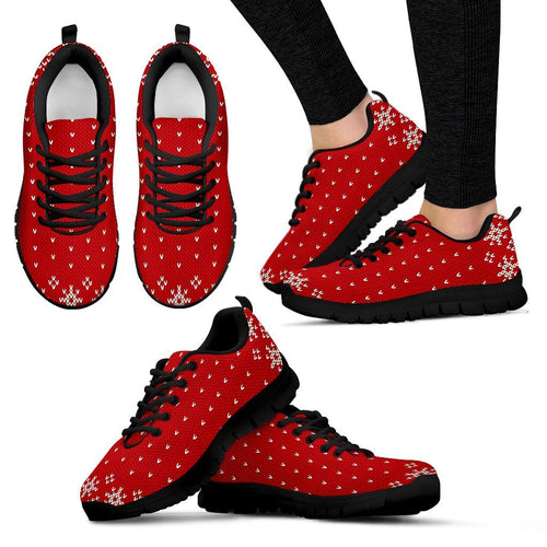 Christmas Red Pattern Women's Running Shoes - Women's Sneakers - Black - Christmas 1 / US5 (EU35) - Ineffable Shop