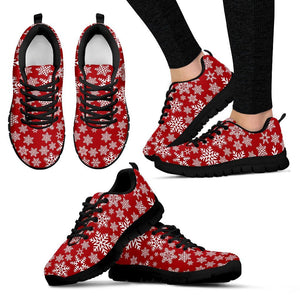 Christmas Red Snow Women's Running Shoes - Women's Sneakers - Black - Christmas 1 / US5 (EU35) - Ineffable Shop