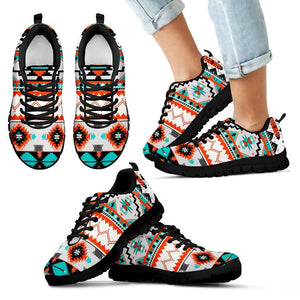 Native American Pattern Kid's Running Shoes NT080 - Kid's Sneakers - Black - Native American 1 / 11 CHILD (EU28) - Ineffable Shop