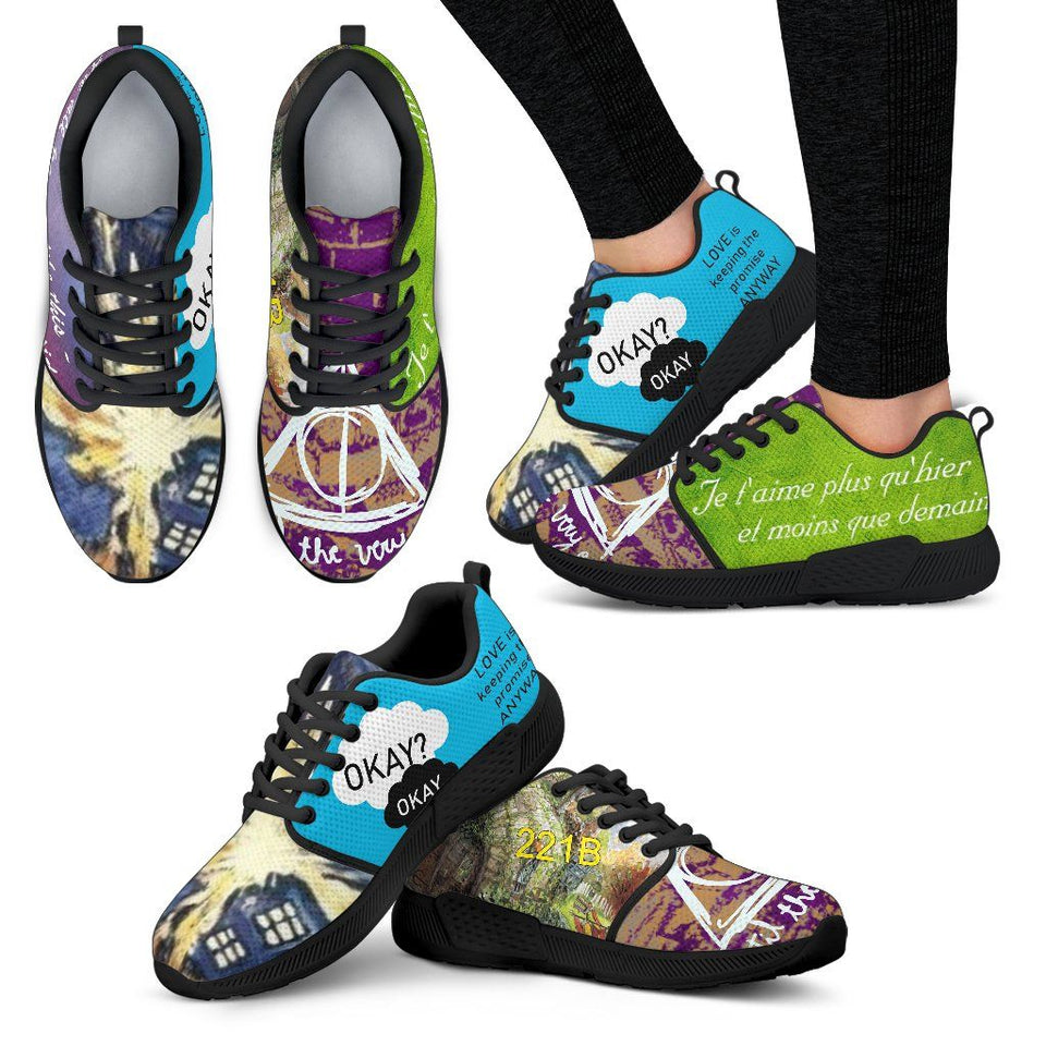 Harry Potter - Doctor Who Women's Athletic Sneakers HP0084 - Women's Athletic Sneakers - Black - 1 / US5 (EU35) - Ineffable Shop
